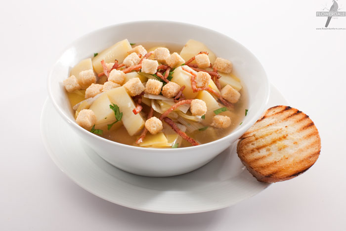 Potato and Bacon Broth with Cheese and Bacon Croutons
