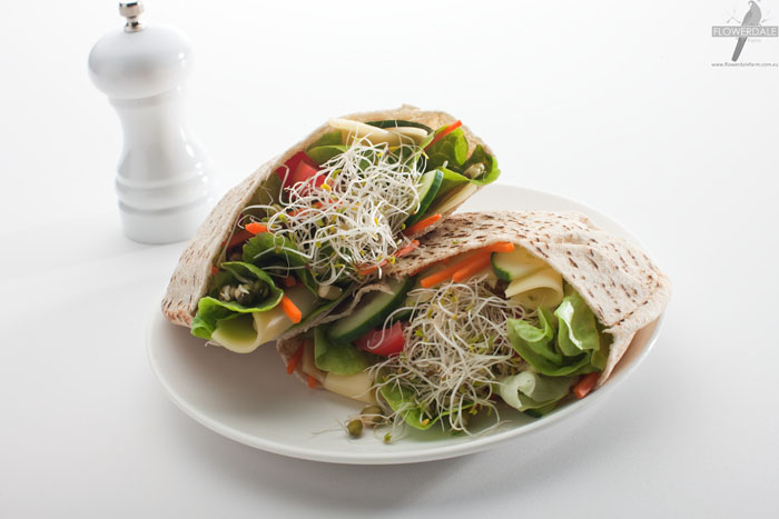 Healthy Sprout and Salad Pita Pockets