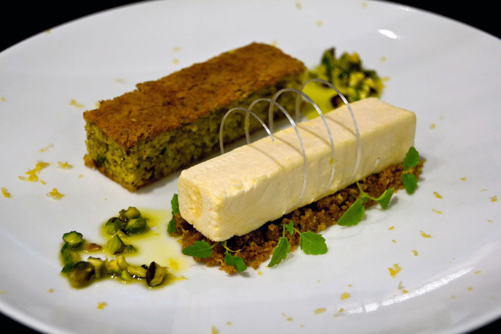 Pistachio and Olive Oil Cake with Yuzu Parfait
