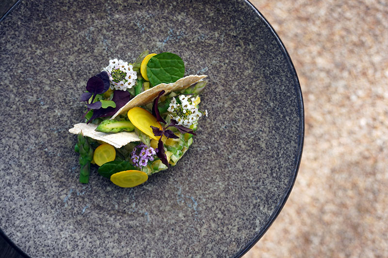 Asparagus tartare with Flowerdale Farm baby veg, edible flowers and leaves