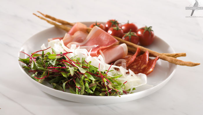 Antipasto Plate with Fennel and Chard Microgreen Salad