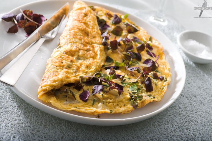 Chili Crab and Shiso Microgreen Omelet